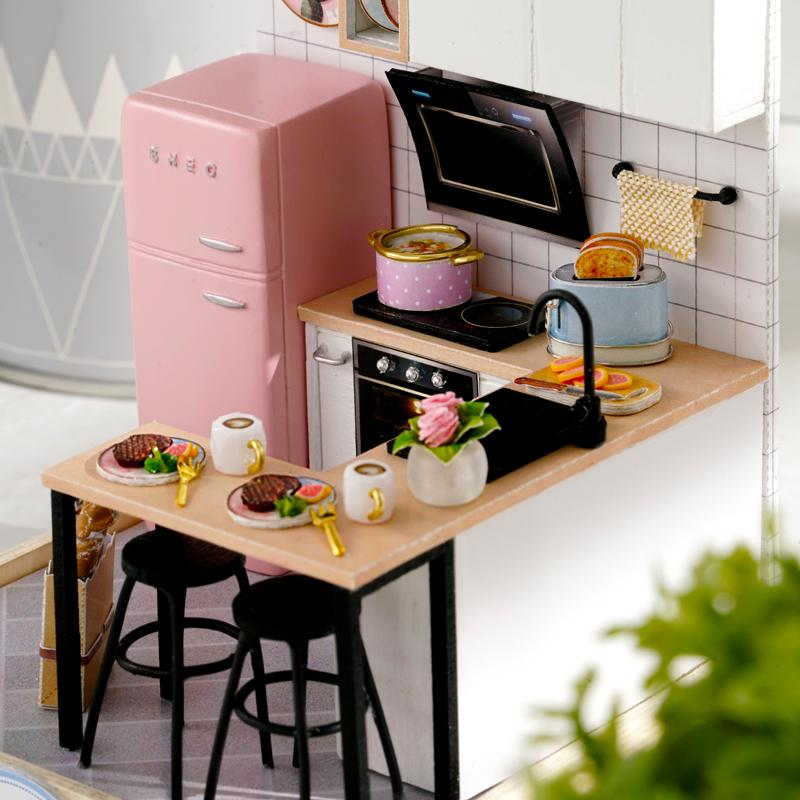 Mini Kitchen Set DIY Miniature Room Kit