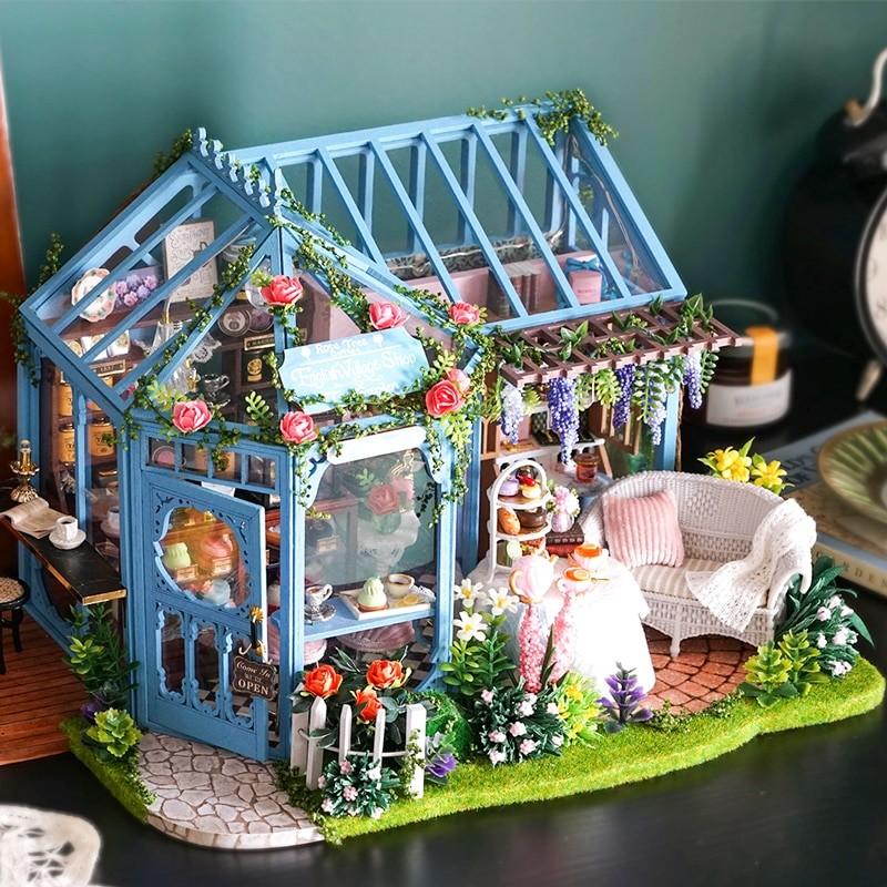 0 CUTEBEE DIY Dollhouse Wooden doll Houses Miniature Doll House Furniture Kit Casa Music Led Toys forRose Garden Tea House DIY Dollhouse