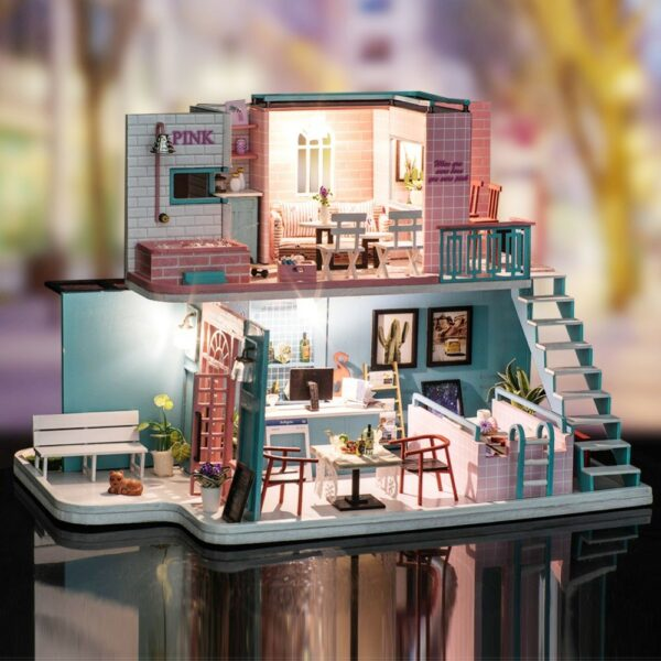 0 Christmas Gifts Miniature Diy Puzzle Toy Doll House Model Wooden Furniture Building Blocks Toys Birthday GiftsPink Cafe DIY Miniature Dollhouse Kit
