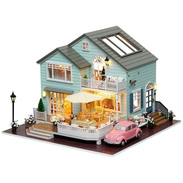 0 Cutebee DIY House Miniature with Furniture LED Music Dust Cover Model Building Blocks Toys for ChildrenQueens Town DIY Miniature House