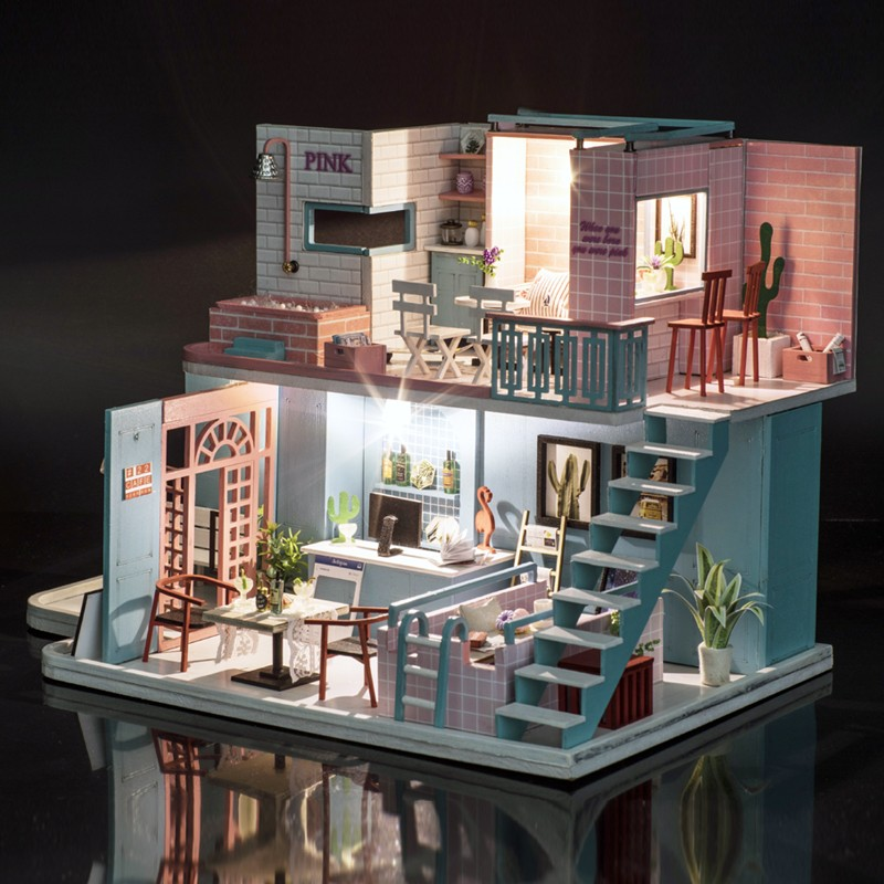 1 Christmas Gifts Miniature Diy Puzzle Toy Doll House Model Wooden Furniture Building Blocks Toys Birthday GiftsPink Cafe DIY Miniature Dollhouse Kit