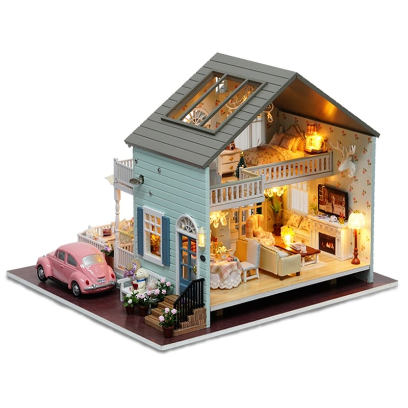 1 Cutebee DIY House Miniature with Furniture LED Music Dust Cover Model Building Blocks Toys for ChildrenQueens Town DIY Miniature House