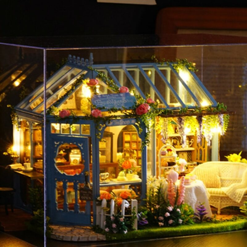1 DIY Wooden 3D Miniature LED Dollhouse Assembly Model Toy Doll Accessories Children Birthday Gifts Rose Garden 1