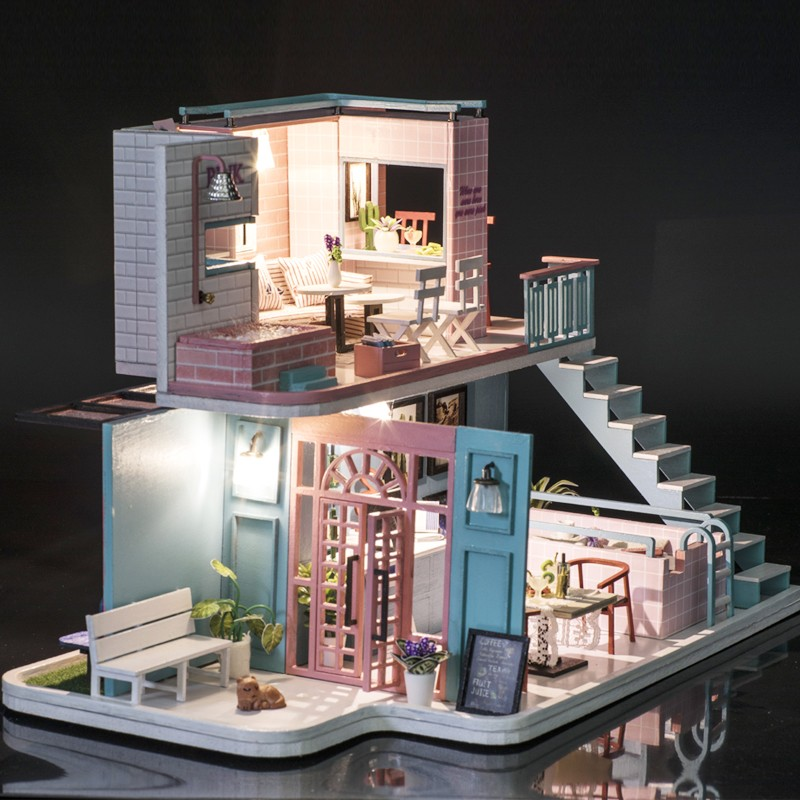 3 Christmas Gifts Miniature Diy Puzzle Toy Doll House Model Wooden Furniture Building Blocks Toys Birthday GiftsPink Cafe DIY Miniature Dollhouse Kit