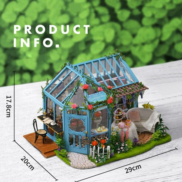 5 DIY Wooden 3D Miniature LED Dollhouse Assembly Model Toy Doll Accessories Children Birthday Gifts Rose GardenRose Garden Tea House DIY Dollhouse