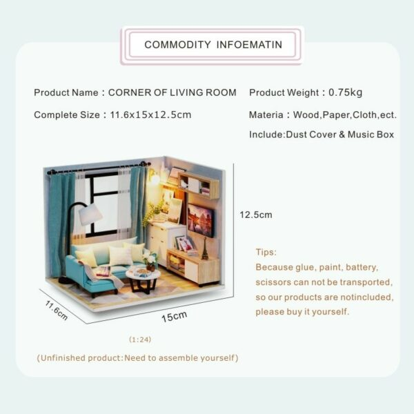 Corner of Living Room DIY Miniature Room Kit H18 ATB1wBf5biLrK1Rjy1zdq6ynnpXaa