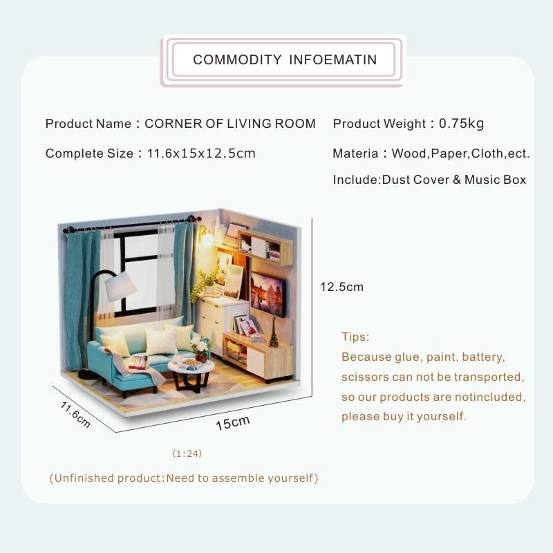 Corner of Living Room DIY Miniature Room Kit H18 ATB1wBf5biLrK1Rjy1zdq6ynnpXaa