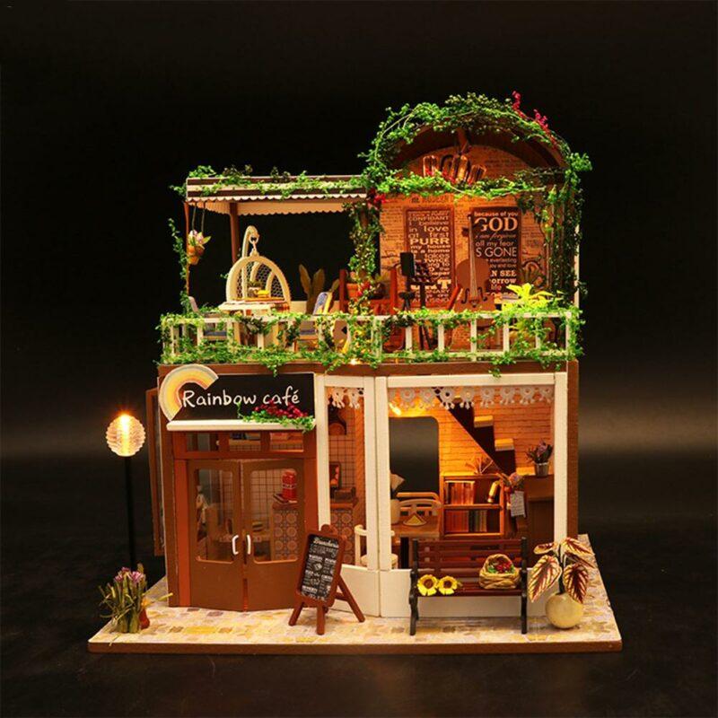 H4a5d0375aeb8496a991a299c7ea297241Rainbow Cafe DIY Dollhouse White