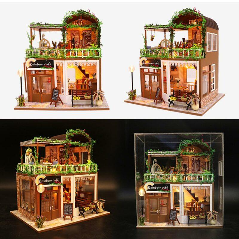 H56859a99bfed485cbab424f88e962a9dyRainbow Cafe DIY Dollhouse White