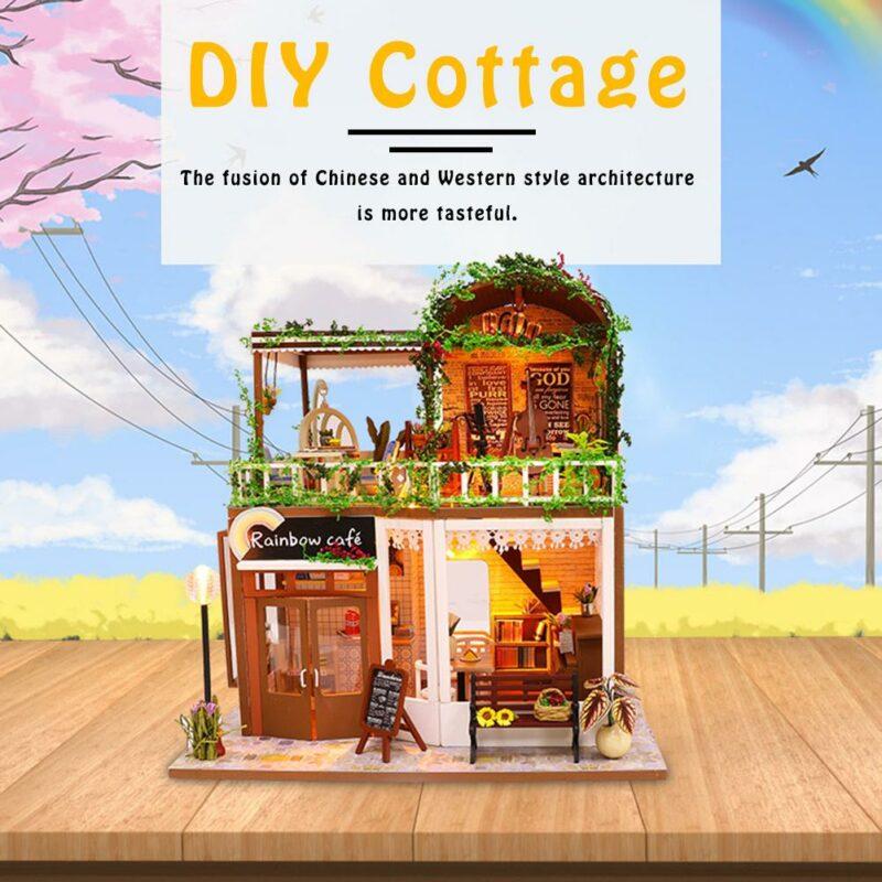 H698be289f5aa44639887b86a1e2d1f1eNRainbow Cafe DIY Dollhouse White