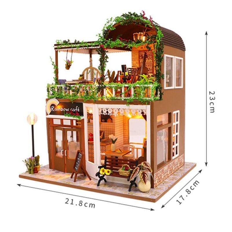H7a15a907d1324f15ba8b256a11b927c0bRainbow Cafe DIY Dollhouse White