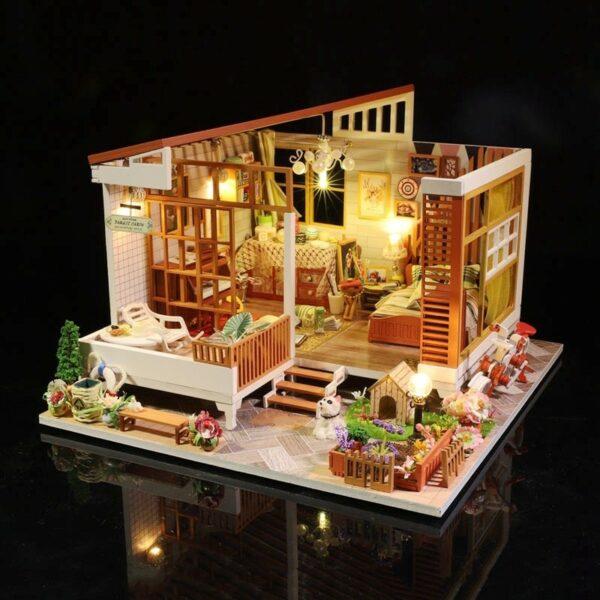HTB12TjmaJfvK1RjSszhq6AcGFXasWooden Cozy Dollhouse DIY Dollhouse Kit