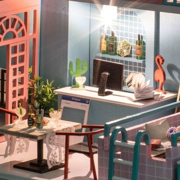 HTB17kY8airxK1RkHFCcq6AQCVXaKPink Cafe DIY Miniature Dollhouse Kit