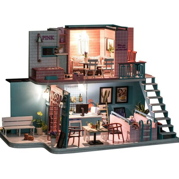 HTB195oeajDuK1RjSszdq6xGLpXaJPink Cafe DIY Miniature Dollhouse Kit