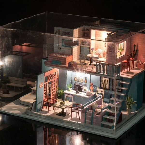 HTB1I7QaaizxK1Rjy1zkq6yHrVXa7Pink Cafe DIY Miniature Dollhouse Kit