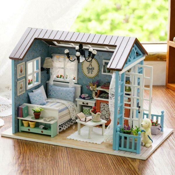 HTB1K.nsmrwrBKNjSZPcq6xpapXa1Mori Blue Time DIY Dollhouse
