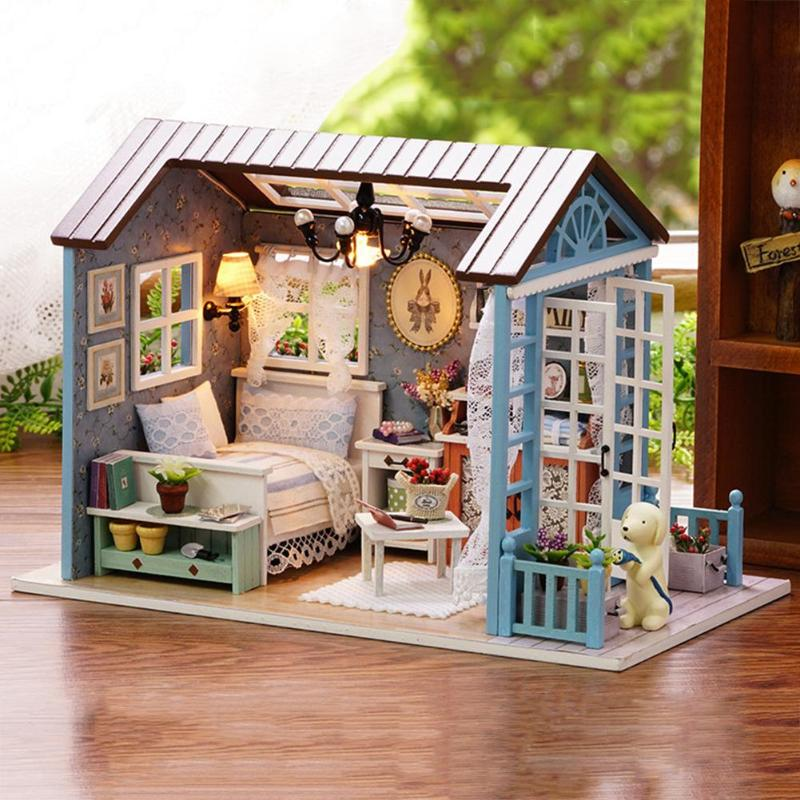 HTB1Qn1rmb3nBKNjSZFMq6yUSFXaLMori Blue Time DIY Dollhouse