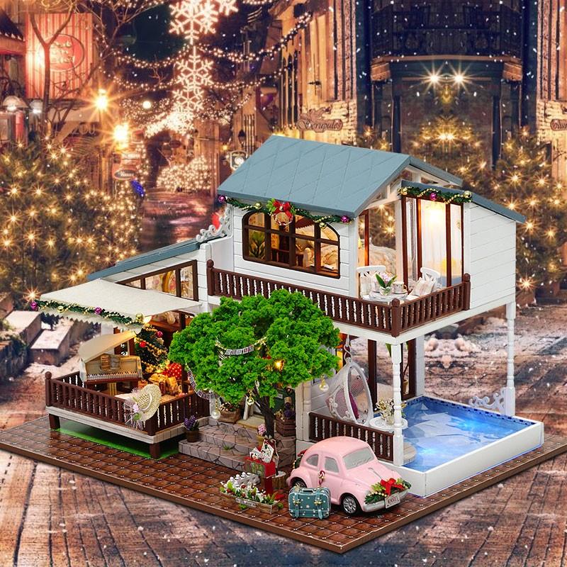 HTB1SbF9cCCWBuNjy0Fhq6z6EVXaYLondon Holiday DIY Miniature Dollhouse