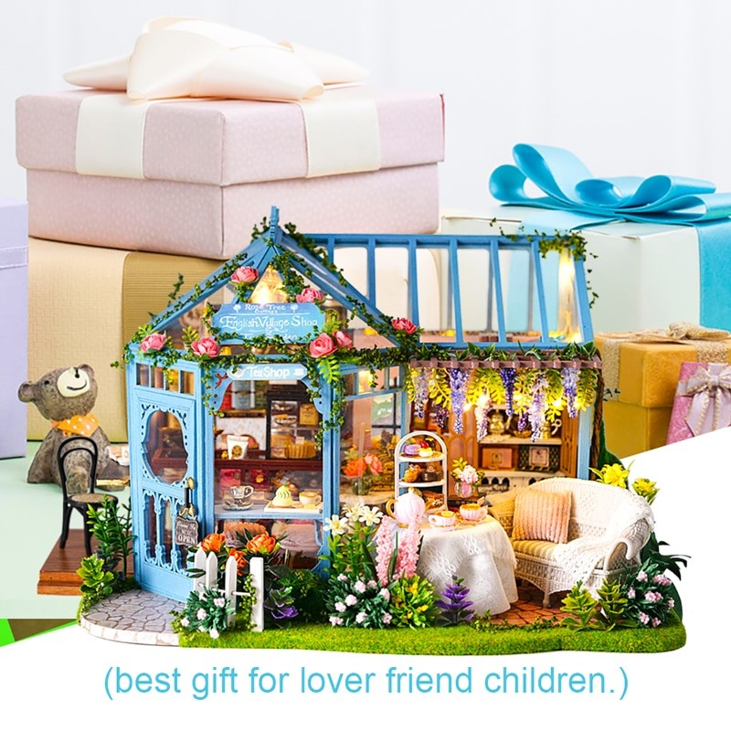 HTB1rM2XXBGw3KVjSZFDq6xWEpXagRose Garden Tea House DIY Dollhouse
