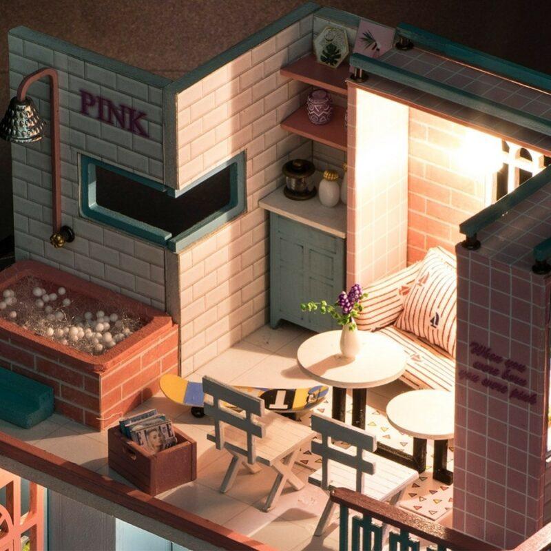 HTB1siAcaizxK1RkSnaVq6xn9VXaaPink Cafe DIY Miniature Dollhouse Kit