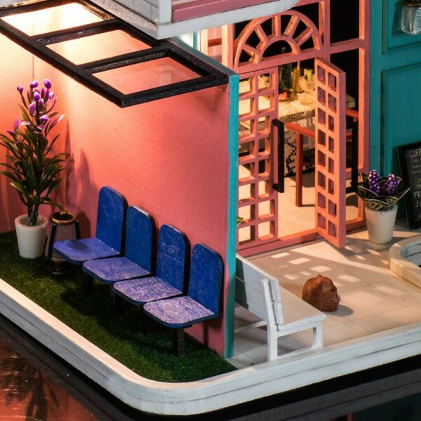 HTB1yjsfadfvK1RjSspfq6zzXFXaRPink Cafe DIY Miniature Dollhouse Kit