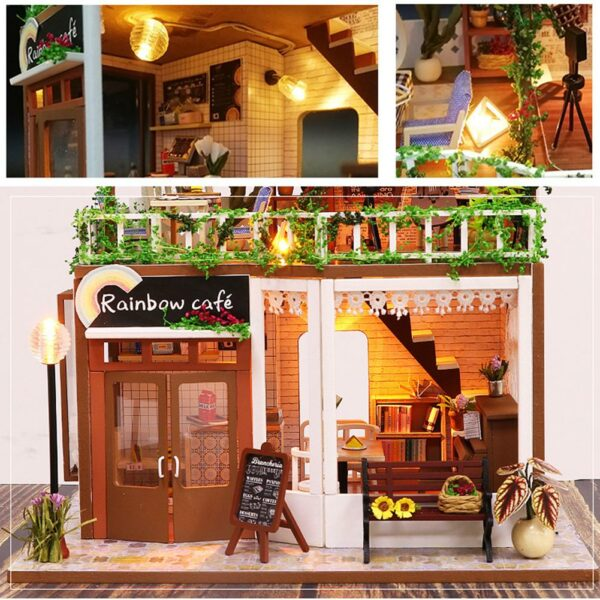 Ha8f8438bd89d48a48cc655a49b428056URainbow Cafe DIY Dollhouse White