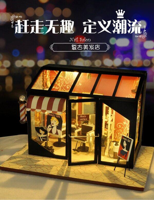 Hair Saloon DIY Miniature Store Kit Hair Salon5635f00b5cf34c118f9247f245221006F