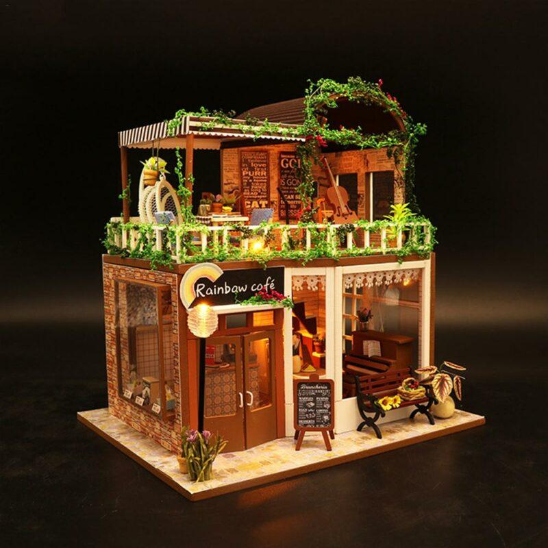 Hba2a22ef86f0453c83938a71f1188302NRainbow Cafe DIY Dollhouse White