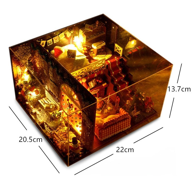 Merry Christmas DIY Miniature Room Kit With dust coverTB1My0XanMerry Christmas DIY Miniature Room Kit With dust