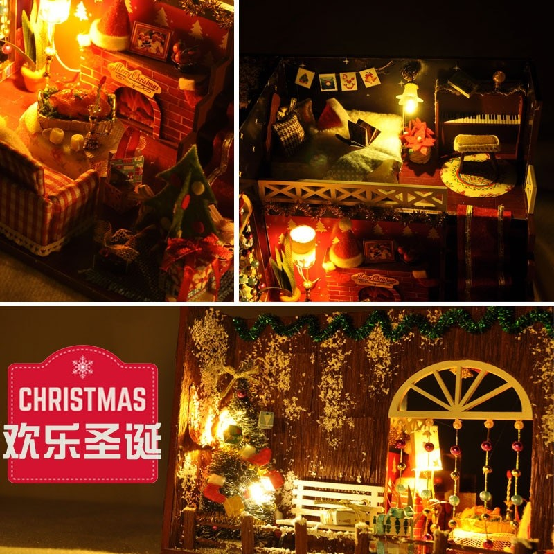 Merry Christmas DIY Miniature Room Kit With dust coverTB1NjMerry Christmas DIY Miniature Room Kit With dust