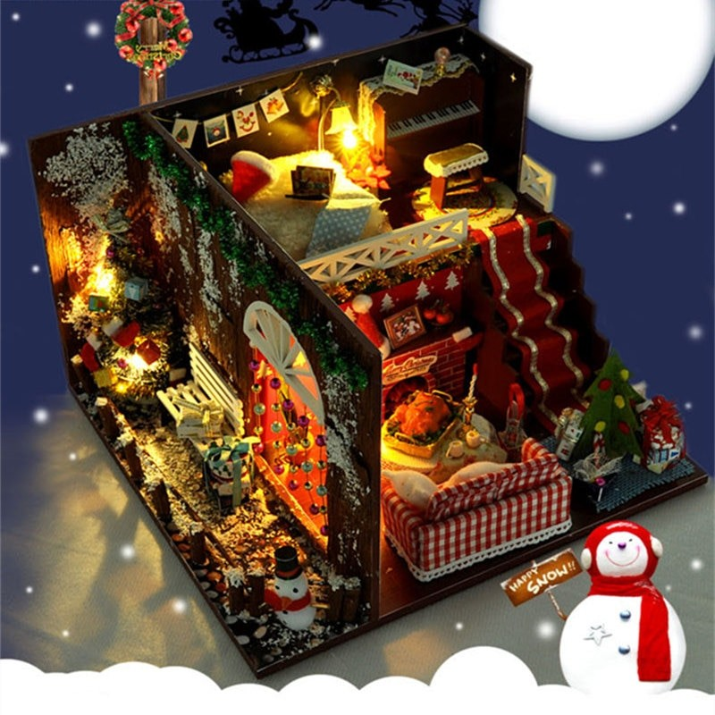 Merry Christmas DIY Miniature Room Kit With dust coverTB1OaVgajnuK1RkSmFPq6AuzFXad