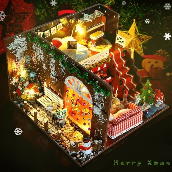 Merry Christmas DIY Miniature Room Kit With dust coverTB1nQZ X2fsK1RjSszbq6AqBXXaY