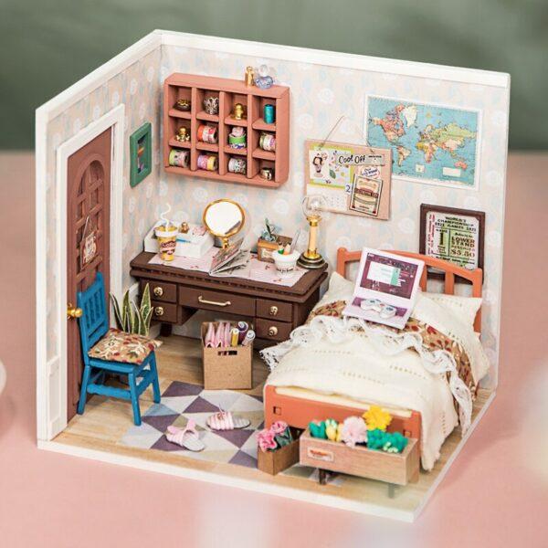 anne s bedroom robotime diy miniature dollhouse kit 2