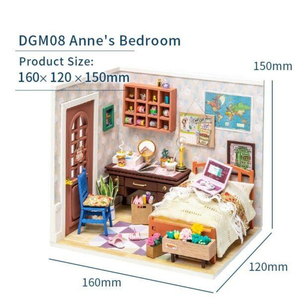 anne s bedroom robotime diy miniature dollhouse kit 3