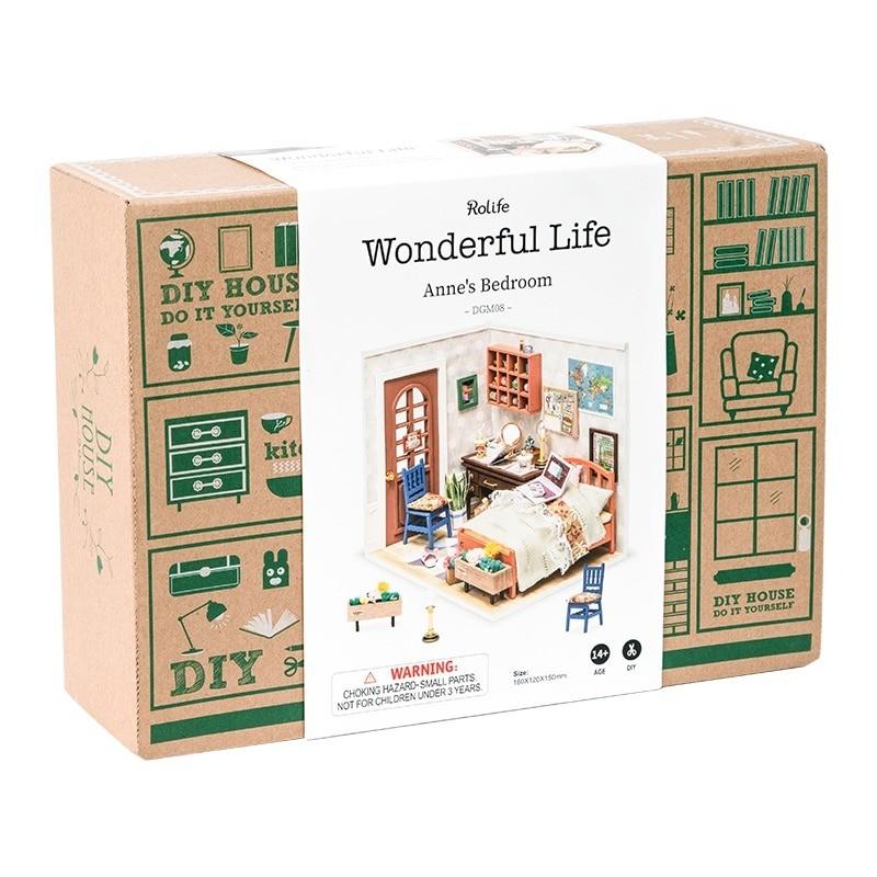 anne s bedroom robotime diy miniature dollhouse kit 4