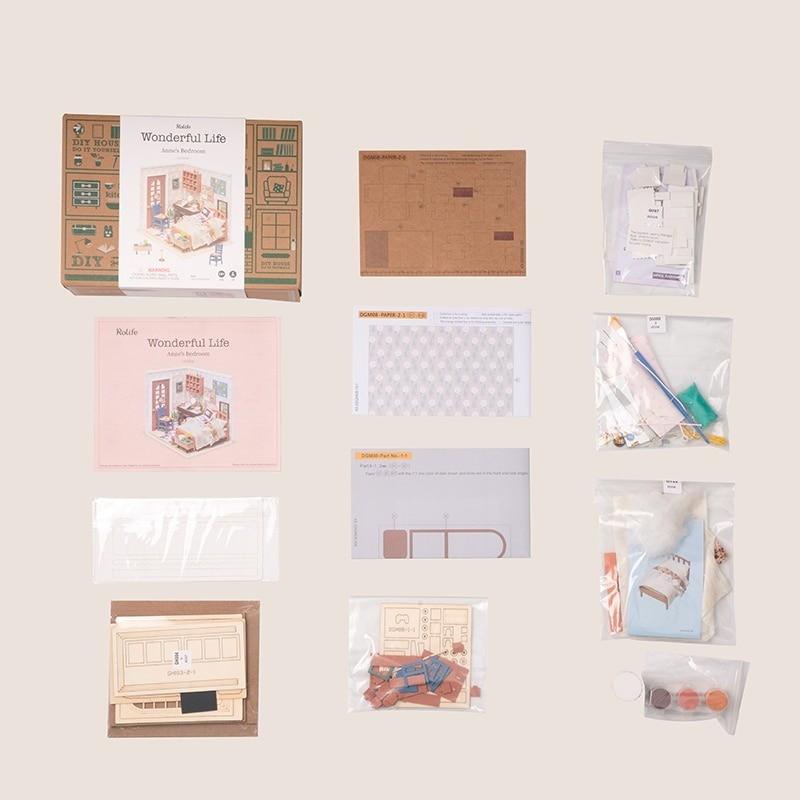 anne s bedroom robotime diy miniature dollhouse kit 5