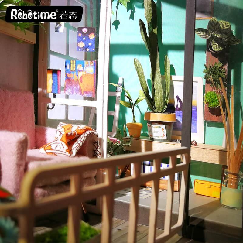 balcony daydreaming robotime diy miniature dollhouse kit 2