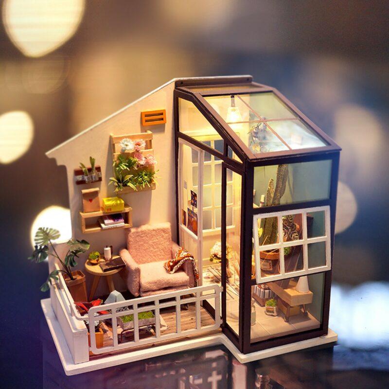 balcony daydreaming robotime diy miniature dollhouse kit 7