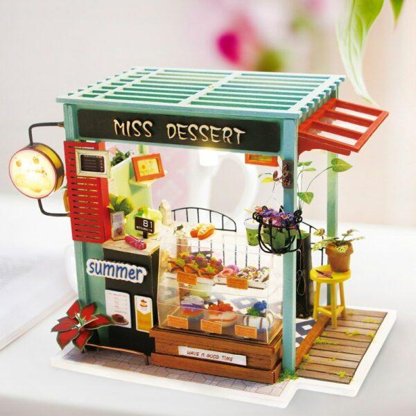 dessert shop robotime diy miniature dollhouse kit 3