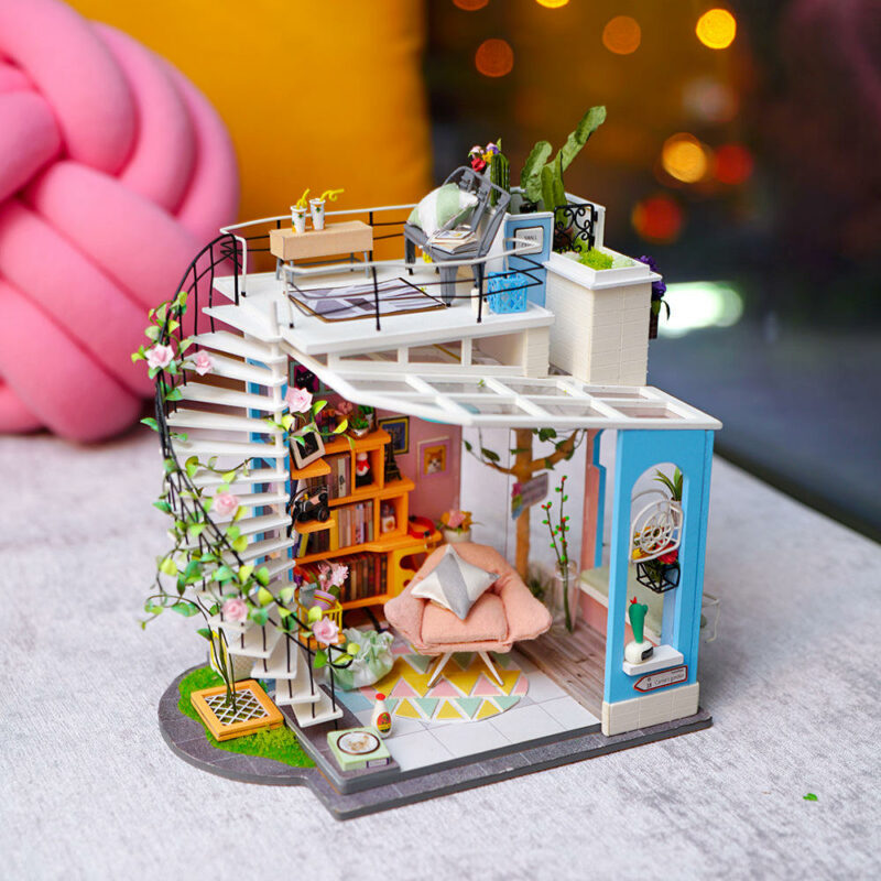 dora s loft robotime diy miniature dollhouse kit 2