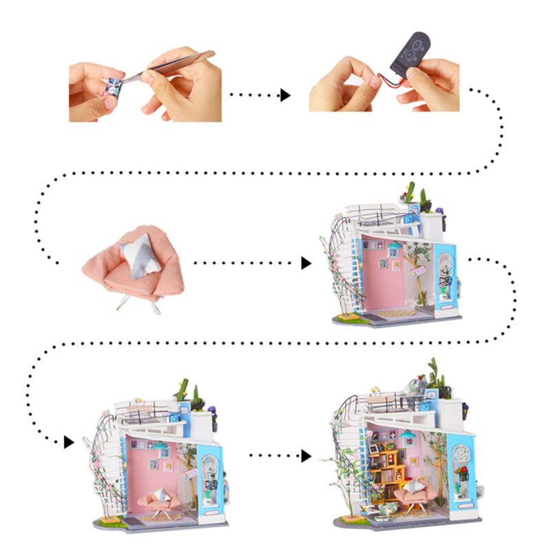 dora s loft robotime diy miniature dollhouse kit 9