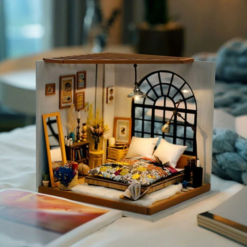 img 1 Robotime DIY Miniature Dollhouse with Accessories and Furniture Model Building Kits Toys for Adult DG107