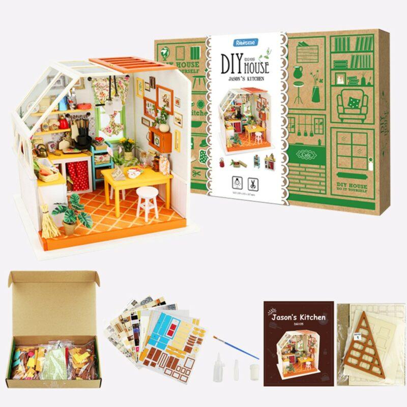 jason s kitchen robotime diy miniature dollhouse kit 12
