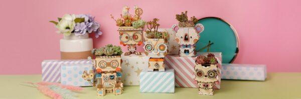 koala cute robot flower pot 3d wooden puzzle 2
