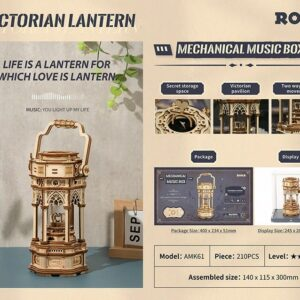 obotime mechanical music box wooden 3 d description 1