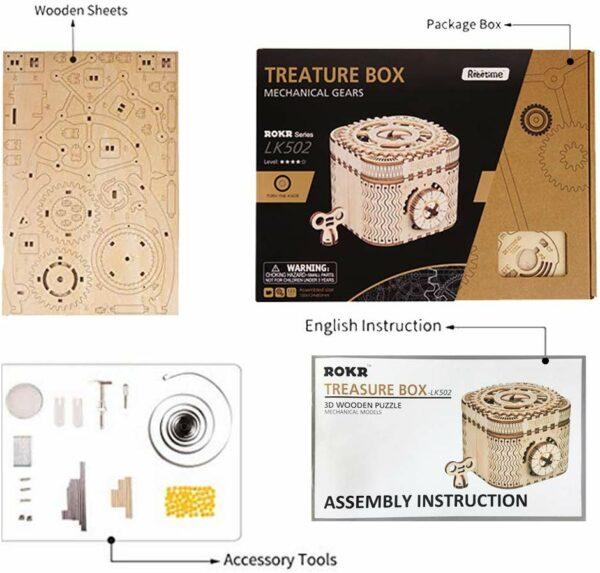 robotime treasure box 3d wooden assembled diy mechanical model 3