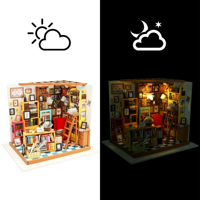 sam s study robotime diy miniature dollhouse kit 10