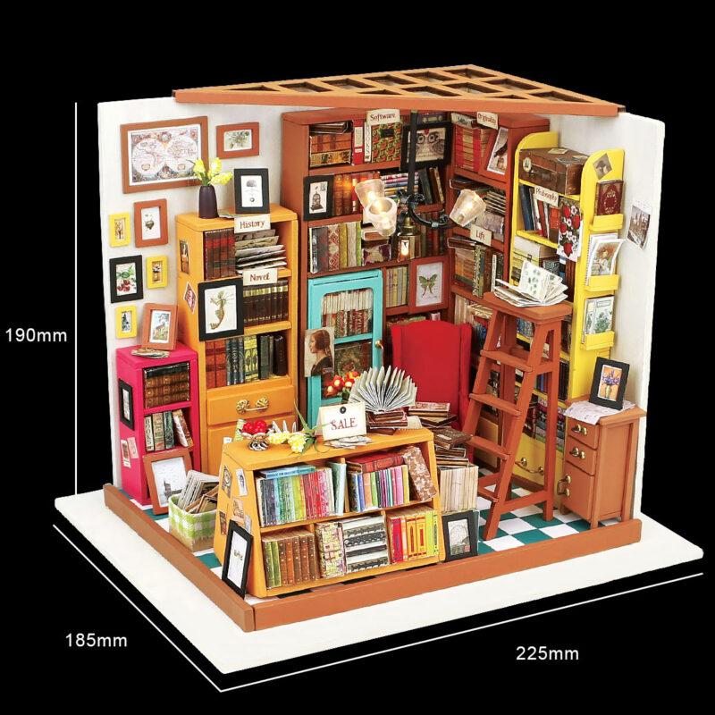sam s study robotime diy miniature dollhouse kit 11