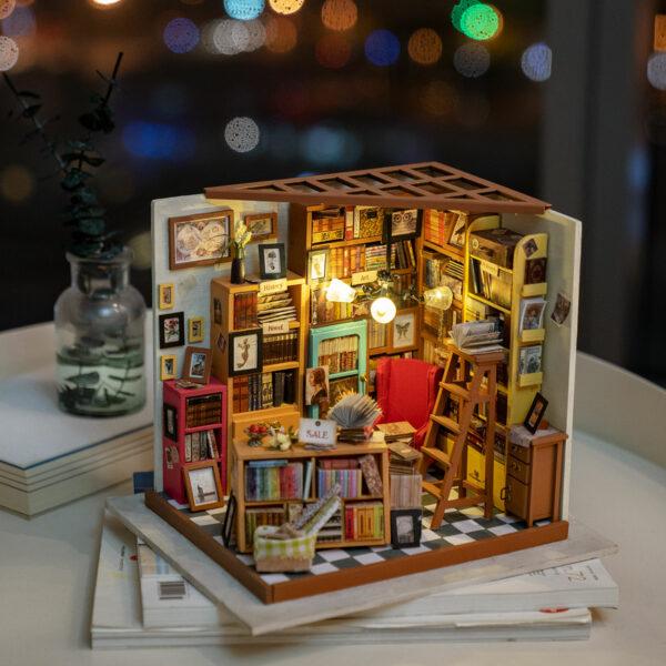 sam s study robotime diy miniature dollhouse kit 8