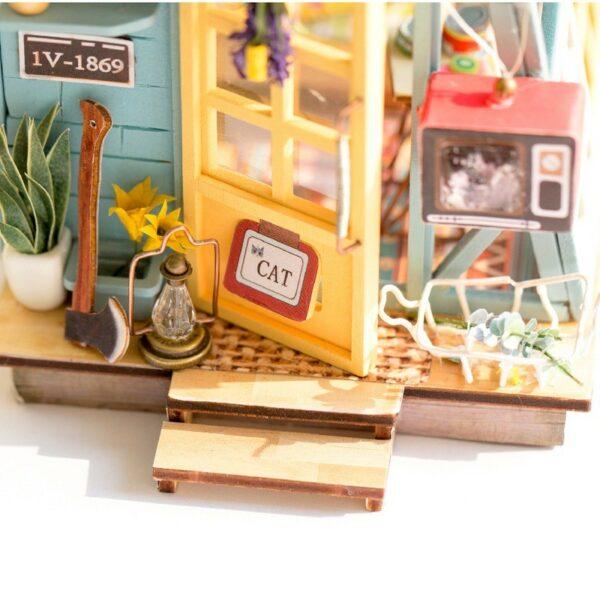 wooden hut robotime diy miniature dollhouse kit 2